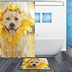 My Daily American Staffordshire Terrier Dog Wreath Shower Curtain 60 x 72 inch with Bath Mat Rug & Hooks, Waterproof Polyester Decoration Bathroom Curtain Set 9