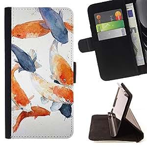 Momo Phone Case / Flip Funda de Cuero Case Cover - Pescado Blanco Azul Naranja Gris - LG G4