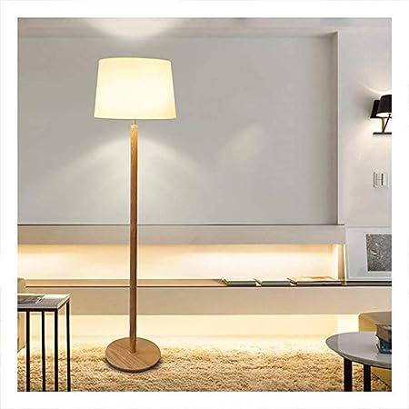 SNSNB Lámpara de pie Habitación de Estudio de Madera Maciza Simple Lámpara de pie Lámpara de pie Iluminación de la Cubierta de Tela de Madera Luz Vertical (luz cálida, luz Blanca),warmlight: Amazon.es:
