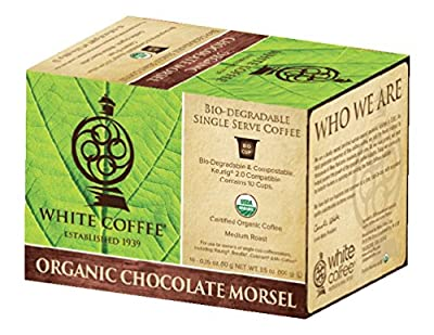 White Coffee Organic Single Serve Coffee, Chocolate Morsel, 10 Count