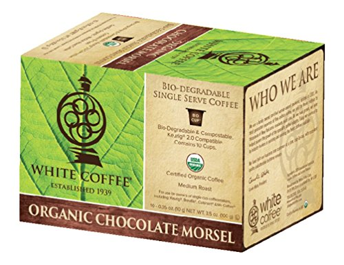 White Coffee Organic Single Serve Coffee, Chocolate Morsel, 10 Count (White Chocolate For Coffee)