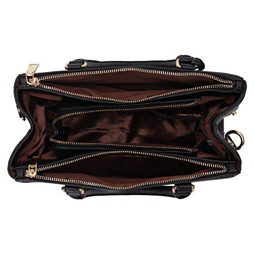 Women For Black Leather Shoulder Totes Synthetic Veevan Handbags xBqOA0w8