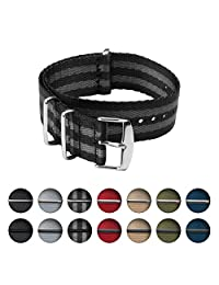 Archer Watch Straps   Seat Belt Weaved Nylon Premium Quality NATO Straps   Heavy Duty Military Style Replacement Watch Band (Black/Gray, Stainless, 20mm)