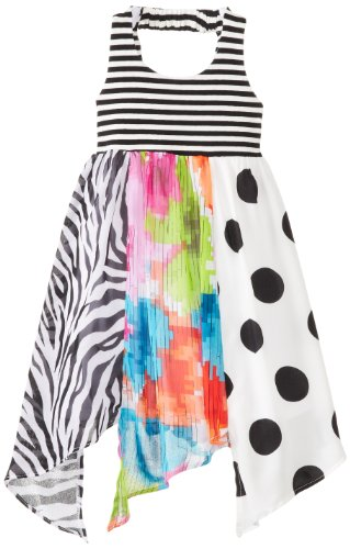 Girls Black White Smocked Dress (Bonnie Jean Little Girls' Pieced Chiffon Print Hanky Dress, Black/White, 6)