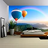 wall26 - Colorful Hot-Air Balloons Flying over the Mountain - Removable Wall Mural | Self-adhesive Large Wallpaper - 66x96 inches