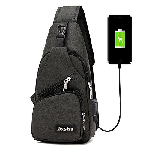 StyleZ Sling Backpack - Travel Small Backpack with USB Charging,Anti-Theft Shoulder Crossbody Chest Bag for Men & Women (Black)