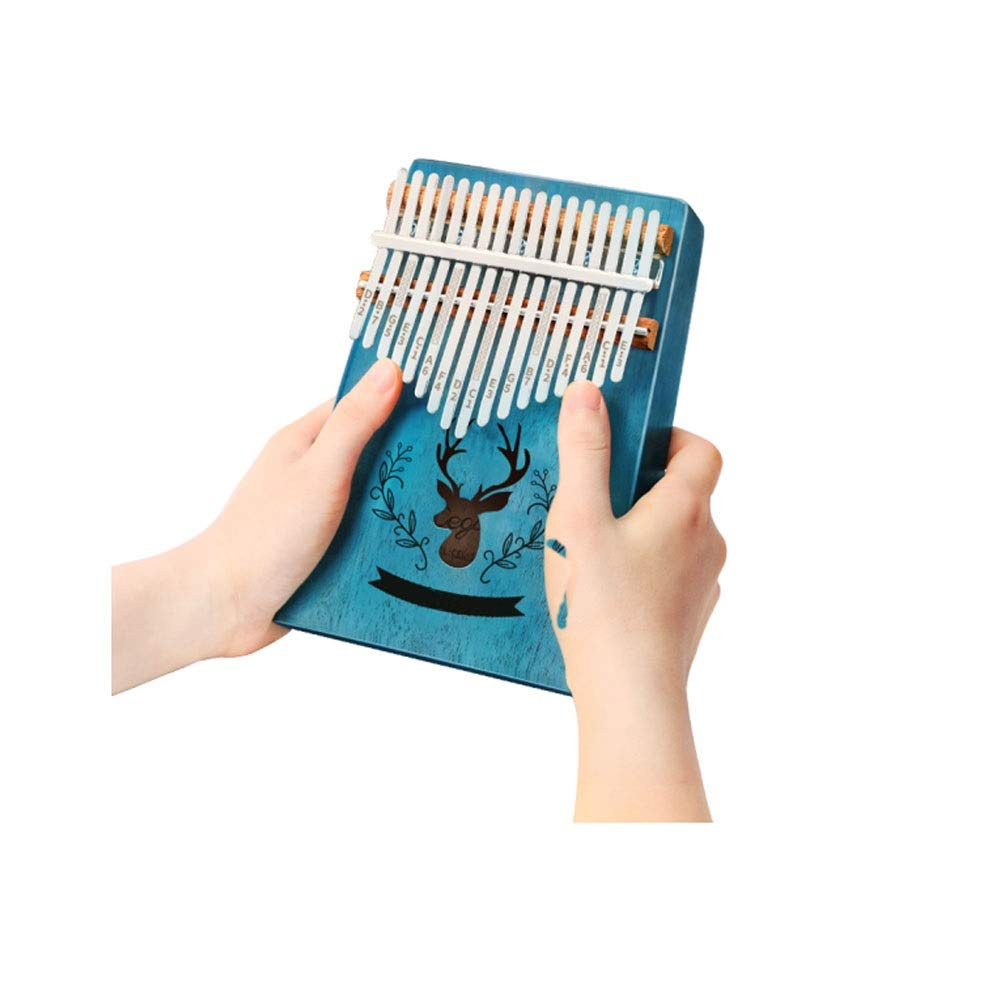 Qiyuezhuangshi Thumb piano, retro design 17-key thumb piano for music lovers and beginners (blue giveaway: portable bag, conditioning hammer, cleaning cloth) Easy to use (Color : 1)