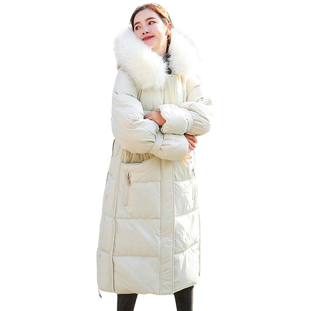 Fashionhe Womens Solid Cotton-Padded Down Jacket Coat Winter Warm Coat Long Sleeves Hooded Overcoat(White.M) by Fashionhe