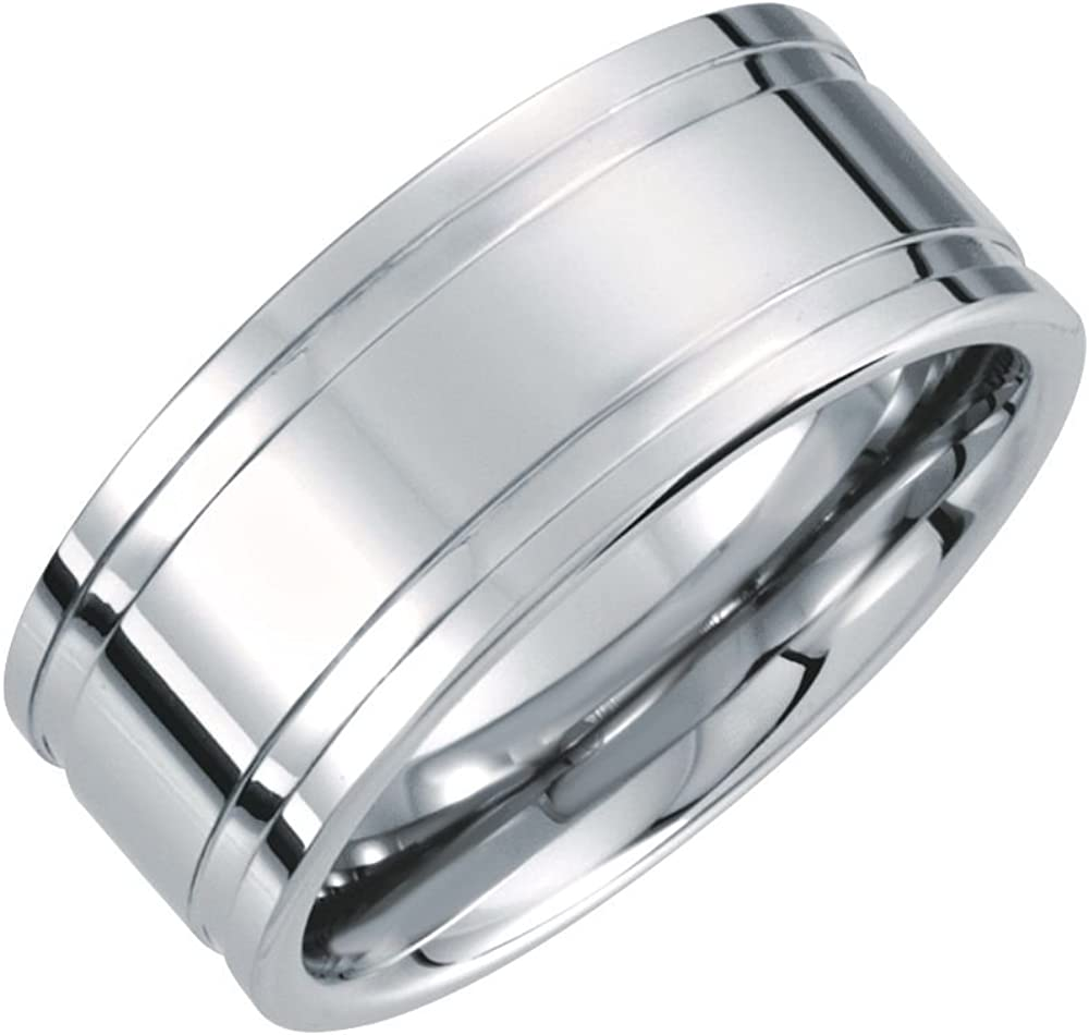 Security Jewelers White Tungsten 10mm Grooved Flat Ridged Band Size 11 Ring Size 11