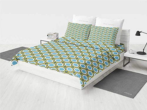 - Geometric Toddler Girl Bedding Sets Retro Circles with Dots Round Design Elements Vintage Inspirations Printing Four Pieces of Bedding Set Yellow Green Blue Black