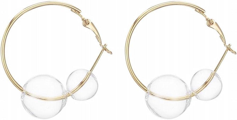 WANGLETA Stud Earrings gota aretes de Regalo para la mujer Pendientes niña Burbuja clara y simple bola de cristal de bucle