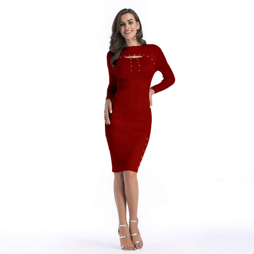 C Autumn and Winter Women's LongSleeved Sweater Sweater Dress Bag Hip Skirt Slim Long Section