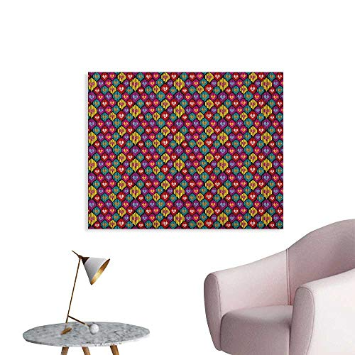 Anzhutwelve Ikat Wall Paper Colorful Ethnic Pattern with Heart Shapes and Lines Bohemian Asian Kazakhstan Motifs The Office Poster Multicolor W36 xL32 (Revolution Bohemian)
