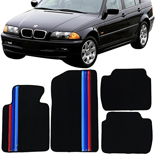 Floor Mat Fits 1999-2005 BMW E46 3-Series | Premium Quality Front & Rear Factory Floor Mat M Color Stripeby IKON MOTORSPORTS | ?2000 2001 2002 2003 2004