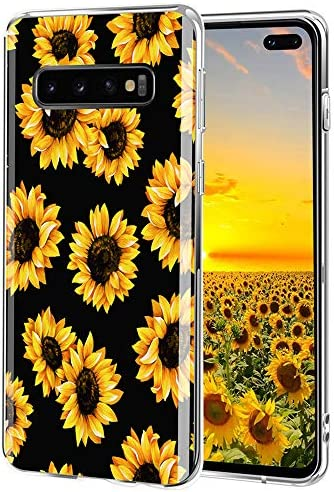 LYWHL Galaxy S10 Plus Case Floral, AIKIN Galaxy S10+ Flower Pattern Case Simply Design Women Girls Soft TPU Flexible Case Shockproof Protective Slim Cute Case for Galaxy S10 Plus (Sunflower Black)