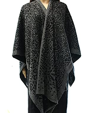 Calvin Klein Womens Open Animal Print Poncho Sweater Black XL