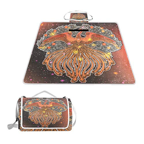 SINOVAL Hand Drawn Phoenix Fire Bird from Russian Fairy Tale Large Picnic mat Outdoor Rug Waterproof Camping Blanket Beach mat 57X59 inches ()