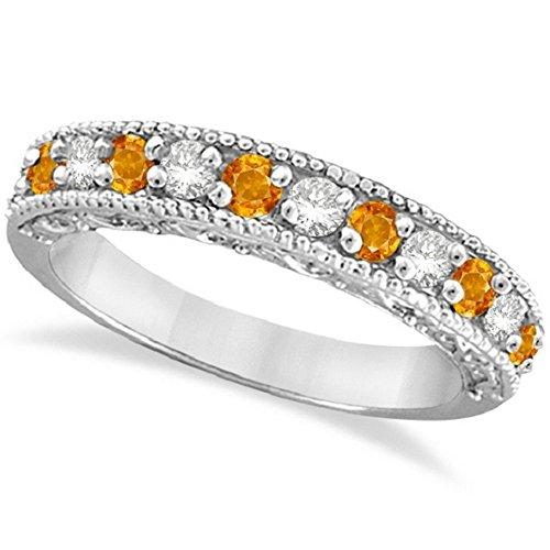 - 0.60ct Womens Unique Orange Citrine and Round Diamond Filigree Design Ring Band 14k White Gold