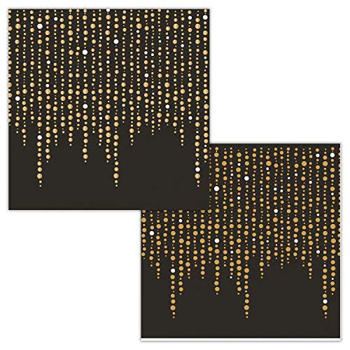 (Black and Glittering Gold Foil Dots Beverage Napkins by Elise, 48)