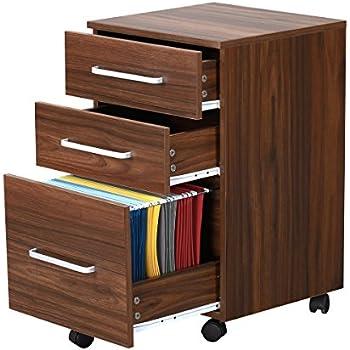 Nice 3 Drawer Wood File Cabinet With Wheels By DEVAISE In Black/Walnut (Walnut)