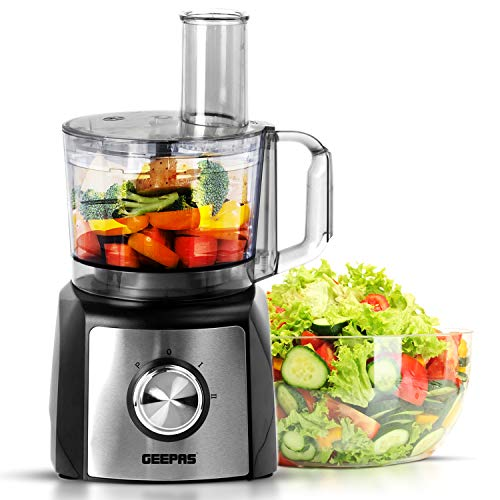 Geepas 1200W Compact Food Processor Blender | Multifunctional Electric Chopper with Shredder & Grater Attachments | 1.2L Bowl Capacity | Stainless Steel & Dough Blades Included - 2 Years Warranty