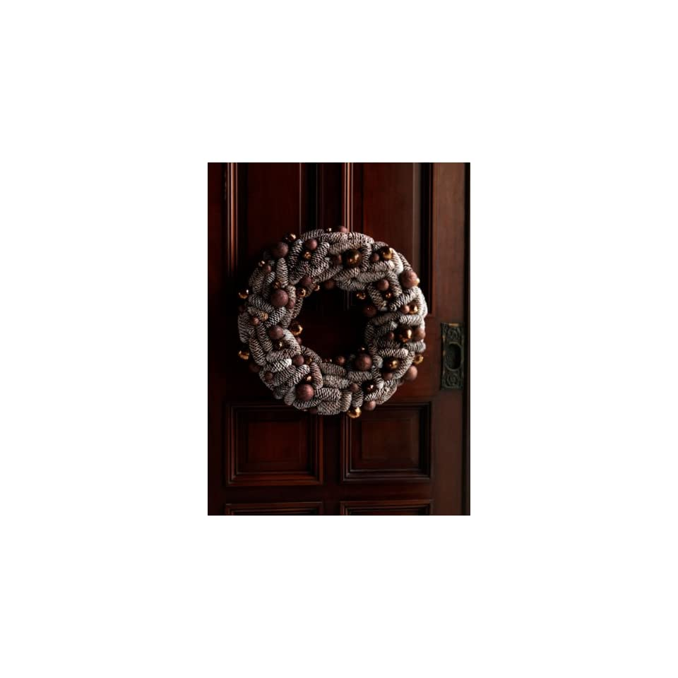 Pack of 2 Natures Glow Frosted Pine Cone Artificial Christmas Wreaths 21