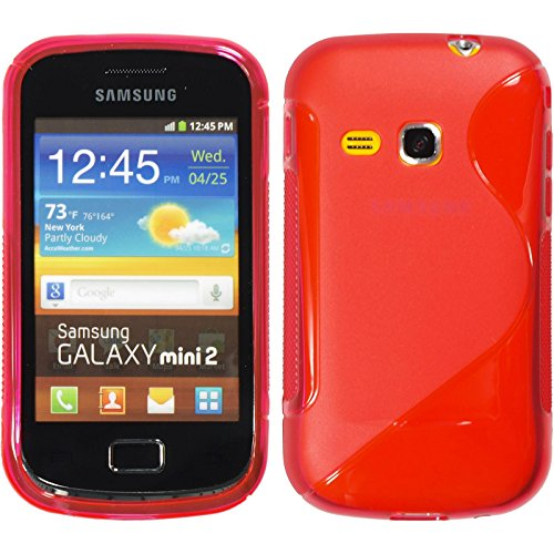 PhoneNatic Silicone Case Compatible with Samsung Galaxy Mini 2 - S-Style red Cover + Protective foils