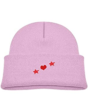 Warm Stars and Hearts Pattern Printed Baby Boy Girls Winter Hat Beanie