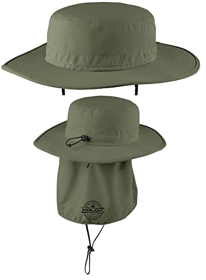 4977fbb0433 Koloa Surf Co. Wide-Brim Outdoor Hat with Sun Flap and UPF ...