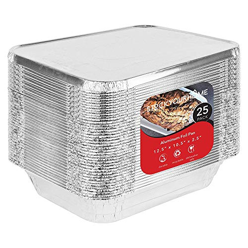 9x13 Aluminum Foil Pan and Lid Set - 25 Baking Pans and 25 Foil Lids - Disposable Food Containers with Lids Great for Baking, Cooking, Heating, Storing, Prepping Food -