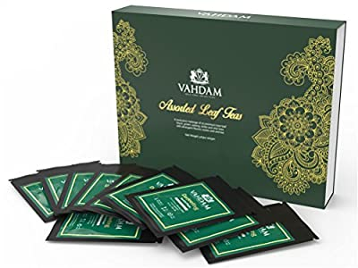 10 Loose Leaf Teas Sampler (50 Cups), Assorted Black, Green, Oolong, White, & Chai Teas, Picked, Packed & Shipped Direct from Source by Vahdam Teas