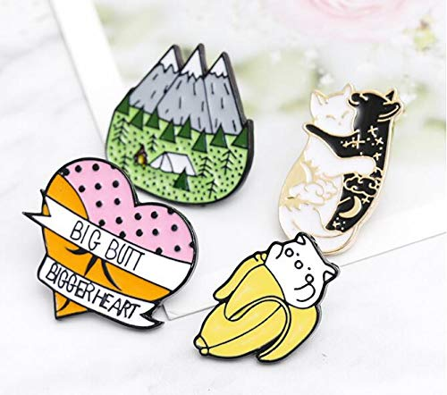 Black and White cat Licking Brooch Forest Banana cat pin (3) by Angelstore Brooch (Image #5)