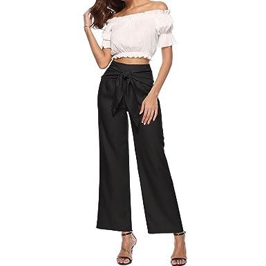 ee6398bee9 Women Pants JJLOVER Solid Waist Knot Wide Leg Elegant Pants High Waist  Casual Vintage