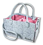 SimbaLux Baby Diaper Caddy Organizer: Large Nursery Storage Bin| Portable Car & Travel Storage Caddy Tote for Diapers, Wipes & Toys| Stylish Felt Nursery Bag for Boys & Girls| Great Baby Shower Gift