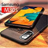 mobistyle - Shockproof Leather Textured with Camera Protection Flexible Back Cover Case for Samsung M30s (Litchi case)