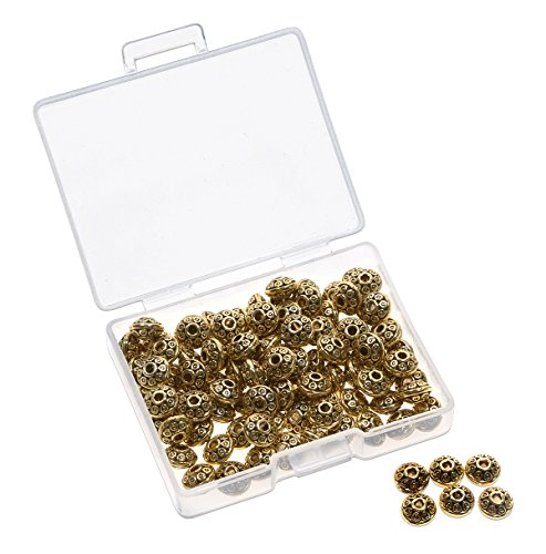 Shapenty 6MM Small Metal Disk Spacer Charm Beads Bulk for DIY Craft Necklace Bracelet Jewelry Finding Making, 100PCS (Antique - Gold Metal Bead Antique