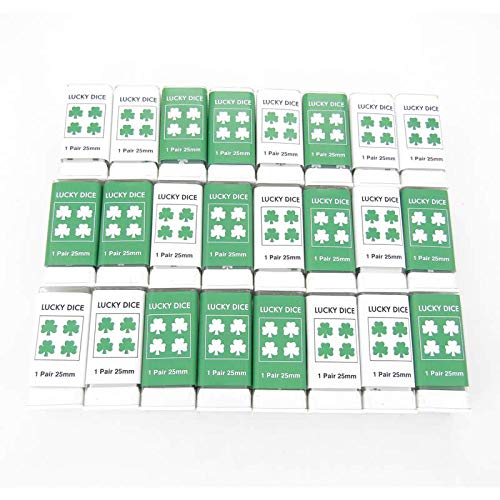 Lucky Dice Green and White D6 25mm (1in) Pack of 24 Pair of Dice Koplow Games