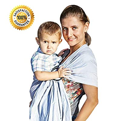 Stylish Ring Sling Baby Carrier – Soft Bamboo Linen Fabric – Lightweight Wrap – for Newborns Infants Toddlers – The Perfect Baby Shower Gift – Nursing Cover – Great for New Parents