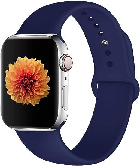 Imagen deCorrea de Reloj Compatible con Apple Watch 44 mm 42 mm 40 mm 38 mm, Correa de Repuesto de Silicona Suave y Agradable para la Piel, Compatible con la Serie iWatch 5/4/3/2/1
