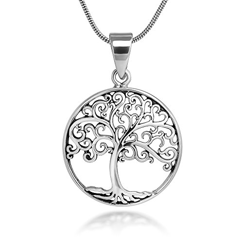 - Sterling Silver 21 mm Filigree Tree of Life Symbol Round Pendant Necklace, 18'' Snake Chain