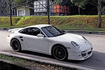 Porsche 911 Turbo S White Right Front HD Poster Super Car 48 X 32 Inch Print