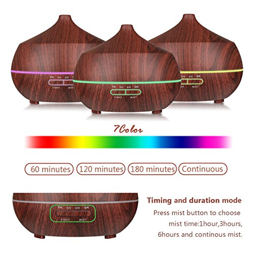 Aromatherapy Essential Oil Diffuser?Tenswall 400ml Wood Grain Ultrasonic Cool Mist Whisper-Quiet Humidifier with 7 Color LED Lights Waterless Auto Shut-off of Various Mist Light Modes