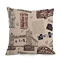 London Cushion Cases Best For Bedding Festival Lover Couch Office Kids Boys 18 X 18 Inches / 45 By 45 Cm(each Side)