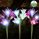 YiFi-Tek Outdoor Stake 3 Pack with 12 Lily Flower, Multi-Color Changing LED Solar Decorative Lights Garden, Patio, Backyard(Purple & White & Pink) For Sale