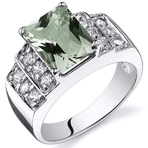 Green Amethyst Step Ring Sterling Silver Rhodium Nickel Finish 2.00 Carats Size 7 - Step Cut Cz Ring