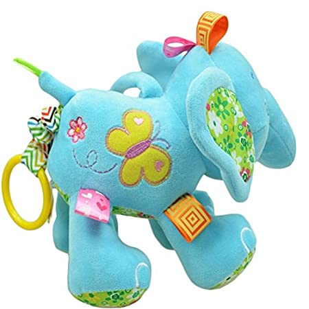 Sozzy Blue Cute Plush Lullaby Musical Elephant for Baby