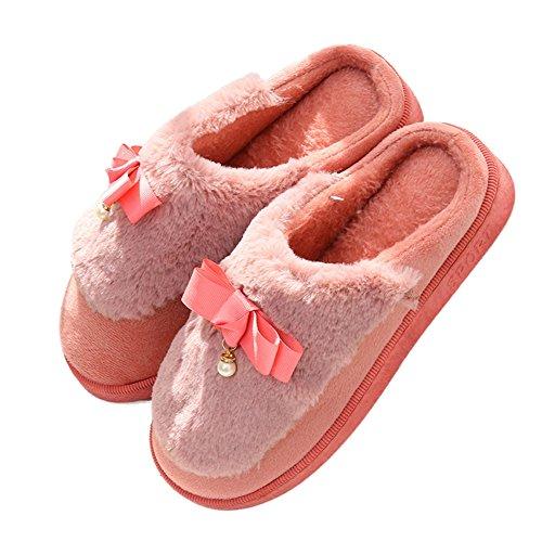 Ciabatta Donna Inverno Carino Pantofola Peluche Confortevole Suola Morbida Antiscivolo Scarpe Rosse