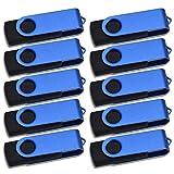 Thumb Drive 10 Pack 256 MB USB 2.0 Flash Drives Bulk Small Capacity USB 2.0 Memory Stick Kepmem Metal Swivel Data Storage Portable U Disk Blue Pendrives