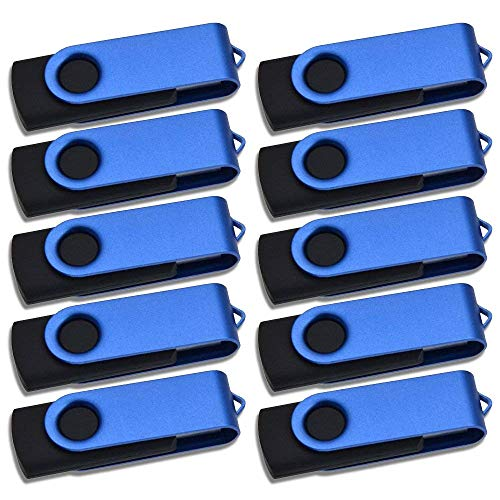 Thumb Drive 64MB 10 Pack Flash Drives Bulk Small Capacity USB 2.0 Memory Stick Kepmem Blue Jump Drive Fold Storage U Disk for Business