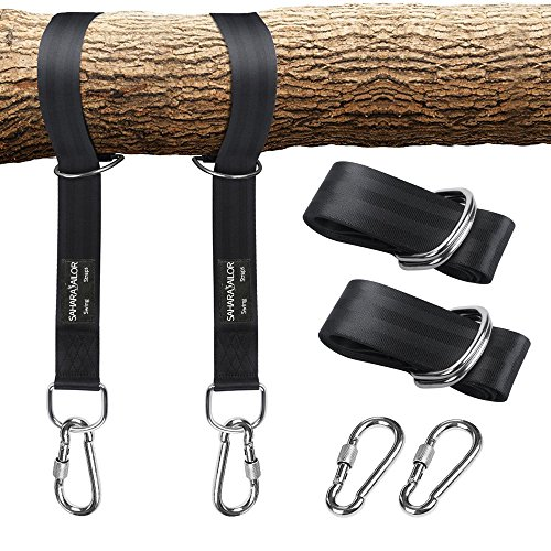 - Sahara Sailor Tree Swing Hanging Straps (Set of 2), Non-Stretch Swing Hanging Kit with Safety Lock Carabiners Carrying Bag Perfect for Tire, Disc Swings, Hammocks, Holds Up to 2200 LBs
